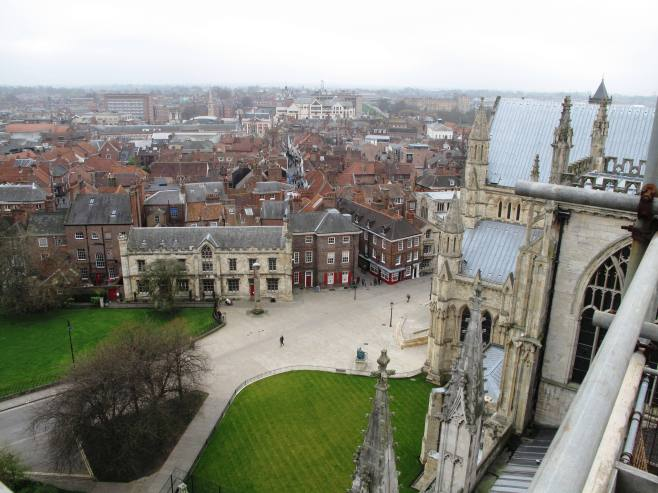 View from the top of the east end of York Minster
