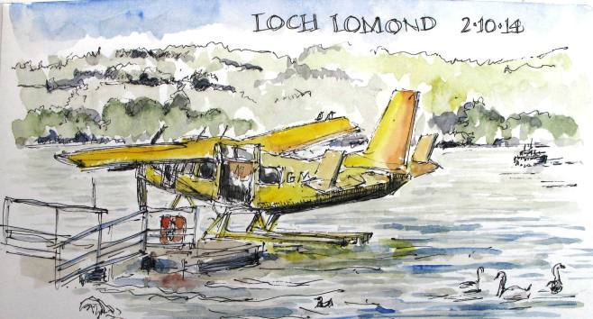 Sketching the tiny Loch Lomond sea plane while we waited our turn