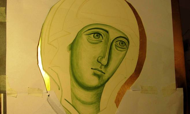 Underpainting the icon of the Virgin