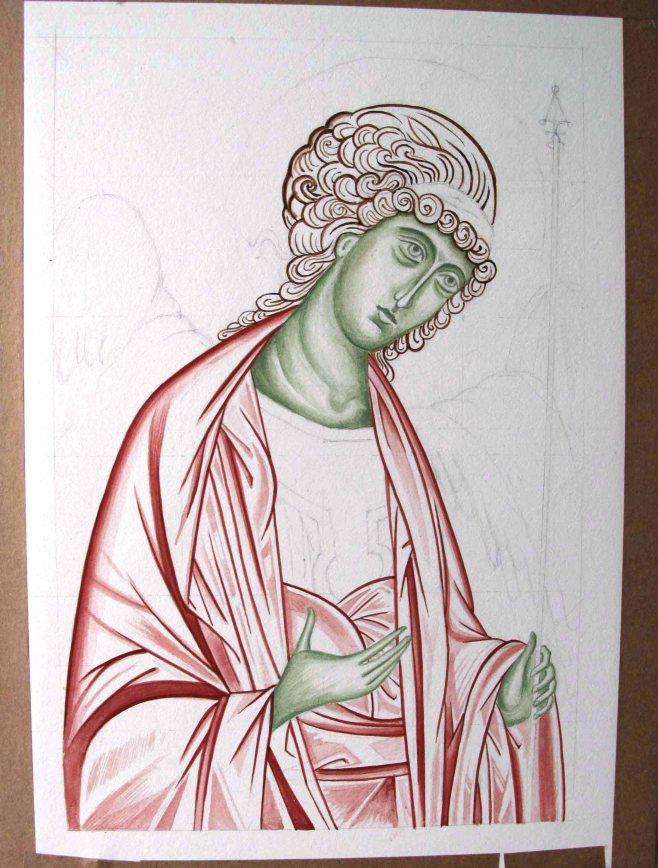 Underpainting garments, hair and face