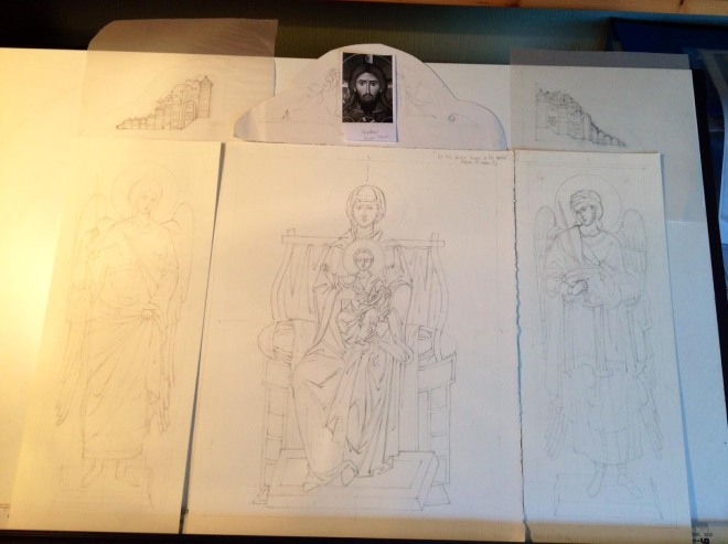 sketch drawings for triptych