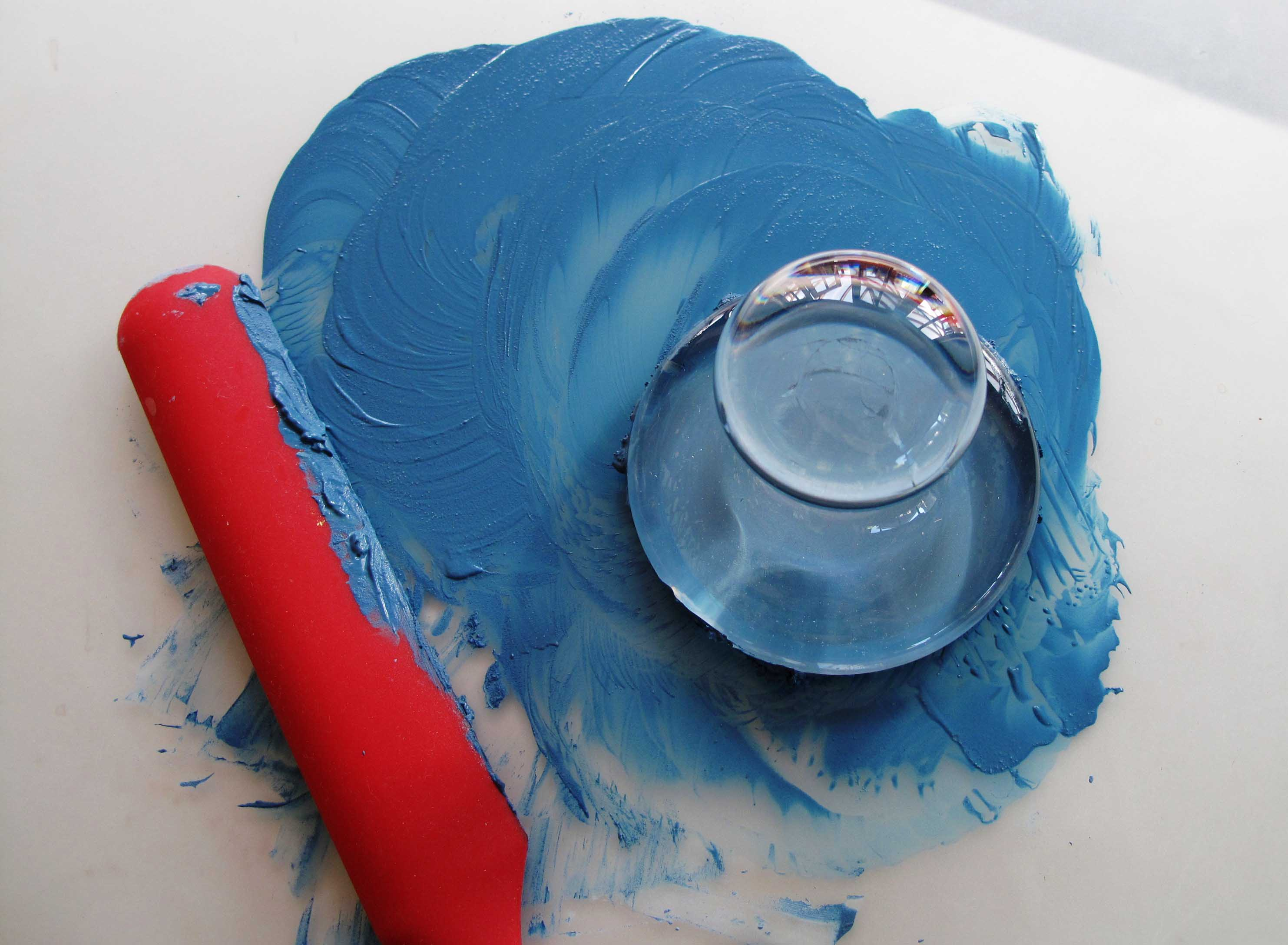 Azurite paste and water