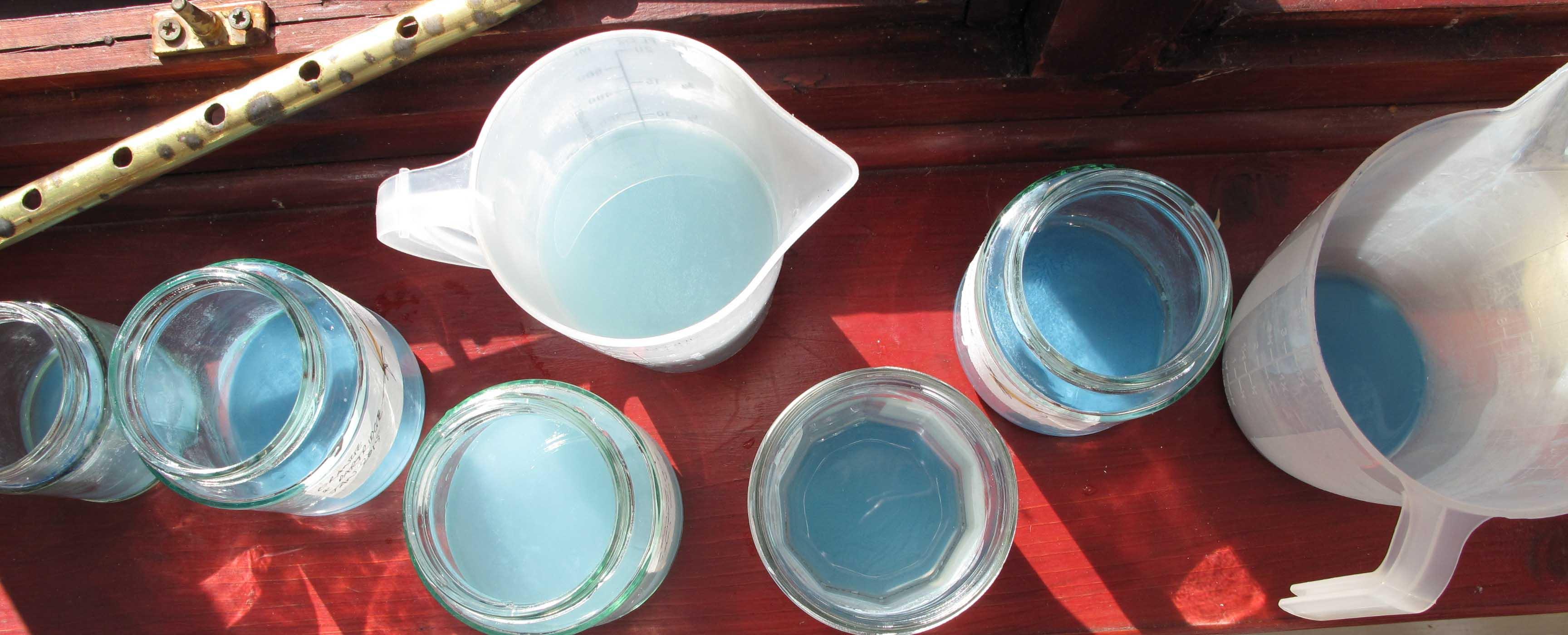 blue azurite in the wash