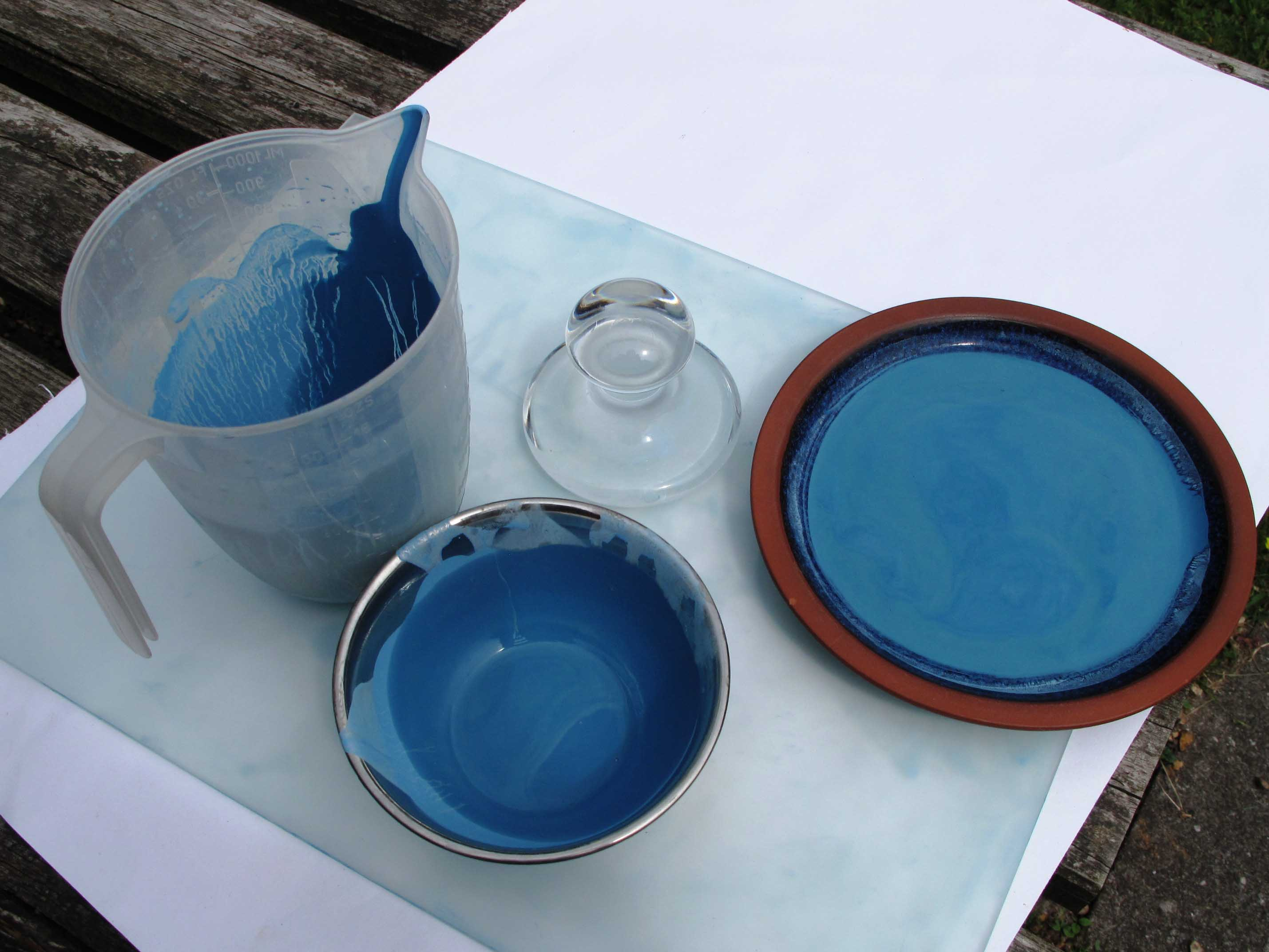 pigment drying in the sun