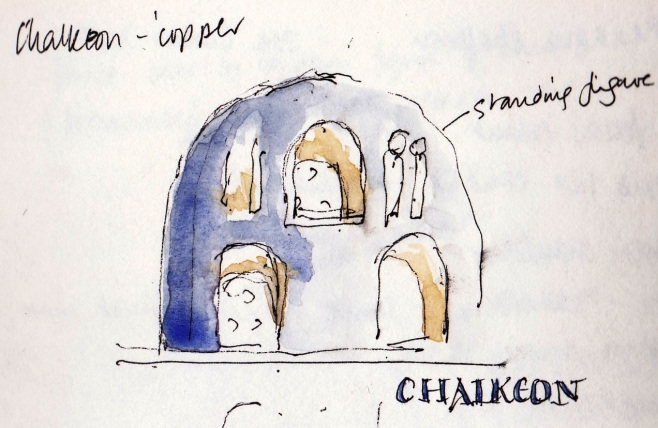 sketch of the interioir of Panagia Chalkeon