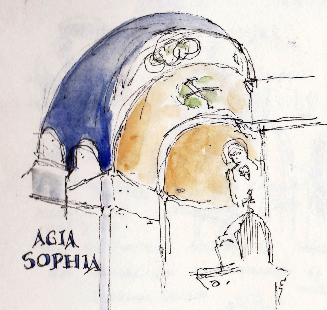 agia Sophia pen and ink sketch