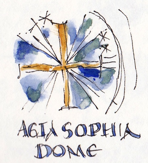 pen and ink sketch of Agia Sophia