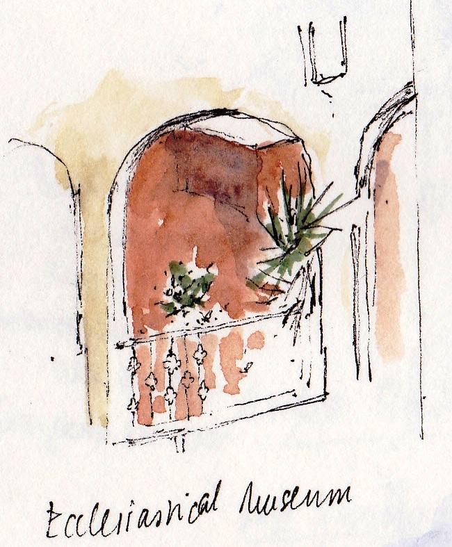 pen and ink sketch of Greek balcony