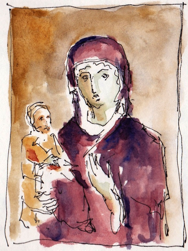 pen and ink sketch of Greek icon