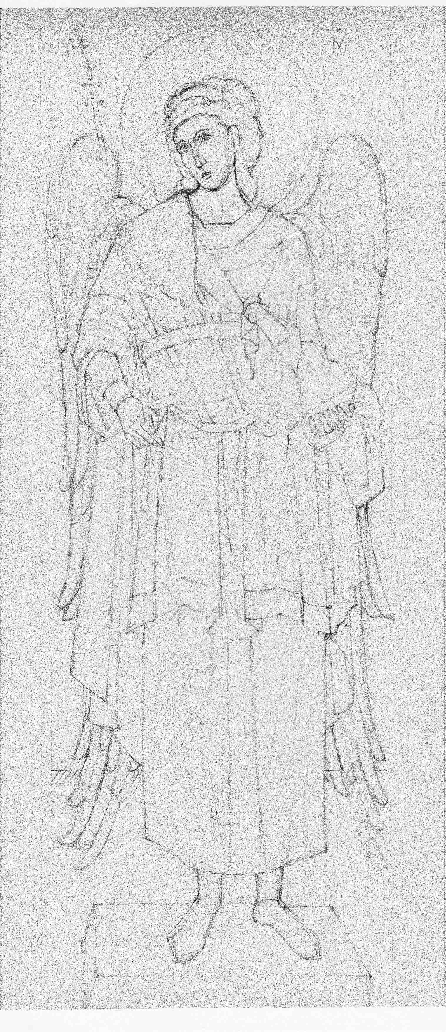 angel of chora pencil drawing