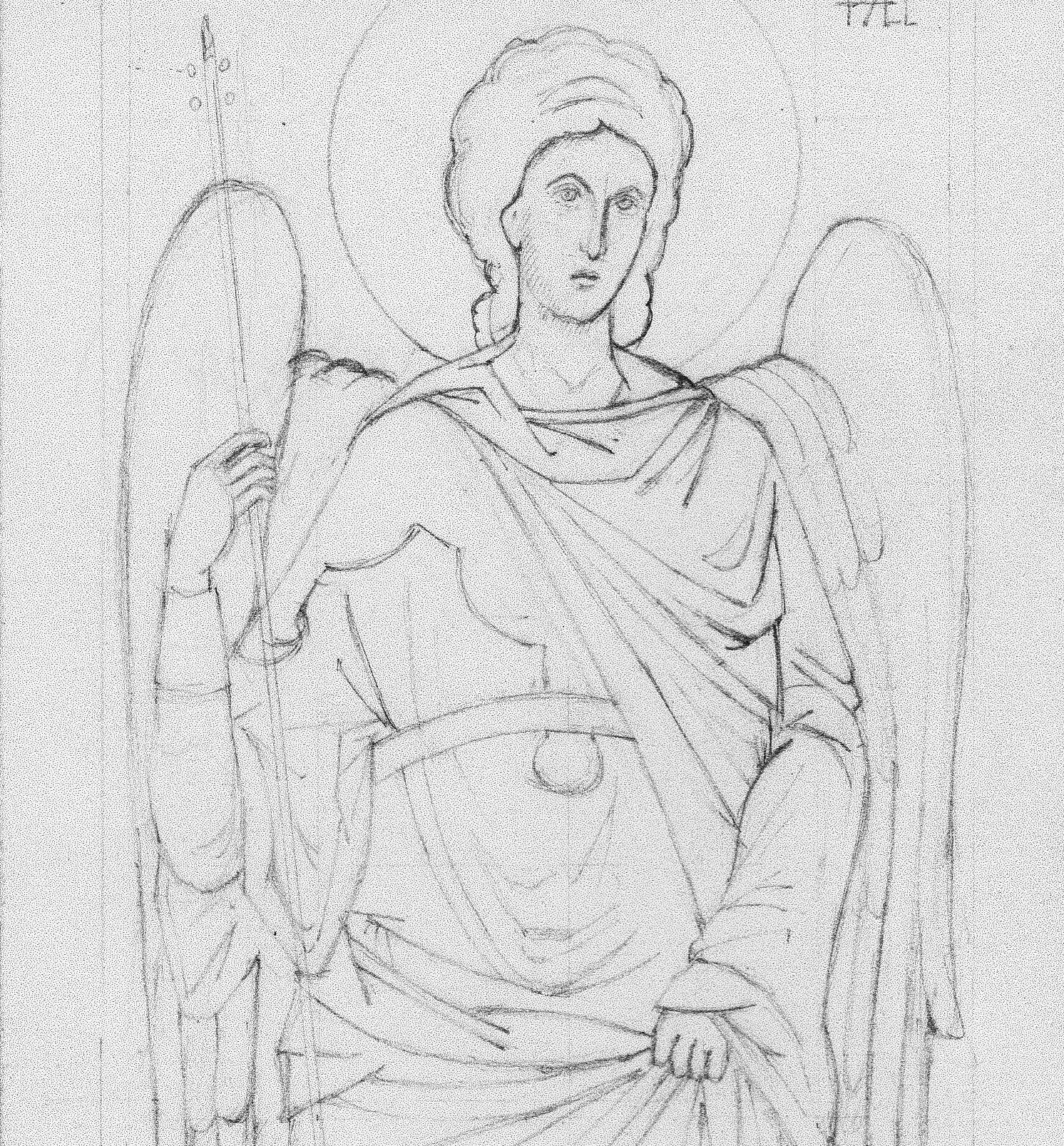 pencil drawing of Archangel Raphael