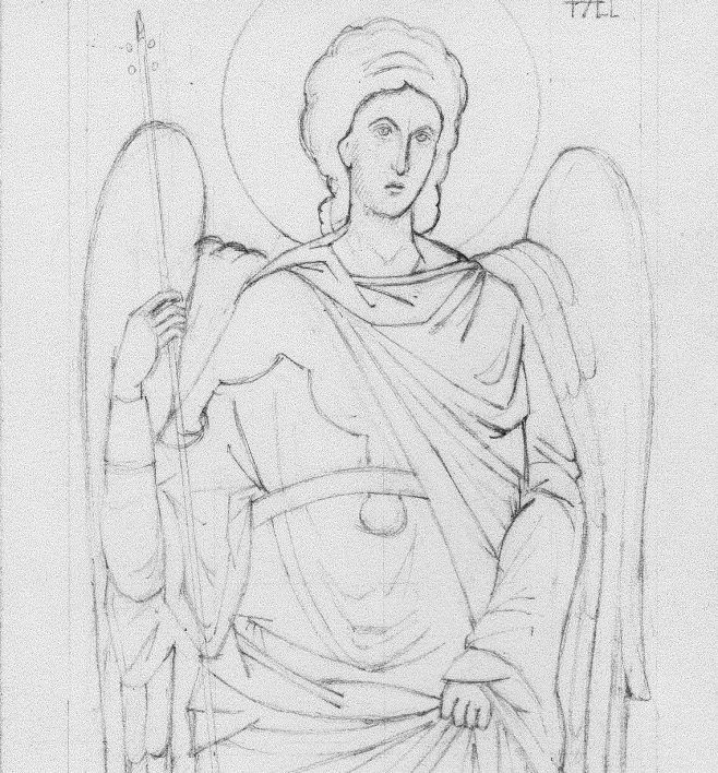 pencil drawing of Archangel Raphael
