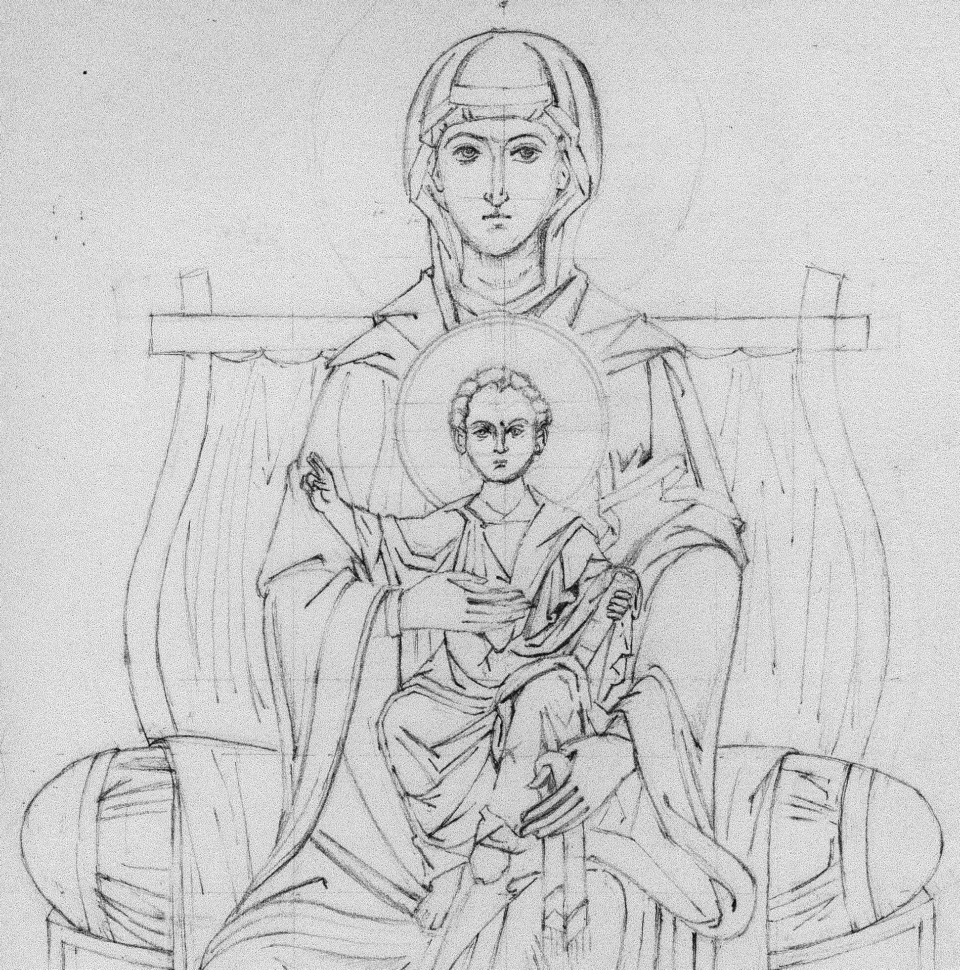 pencil drawing of icon of virgin and child enthroned
