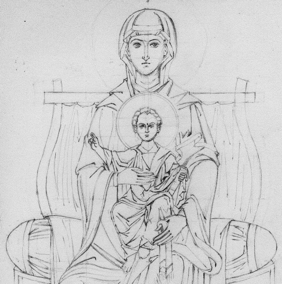 Line Drawing Icons : Drawing heavenly bodies virgin and child enthroned with