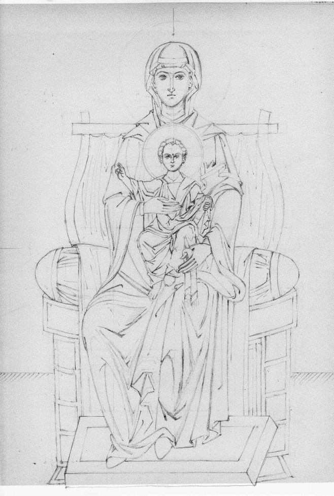 Virgin and Child Enthroned line drawing low res