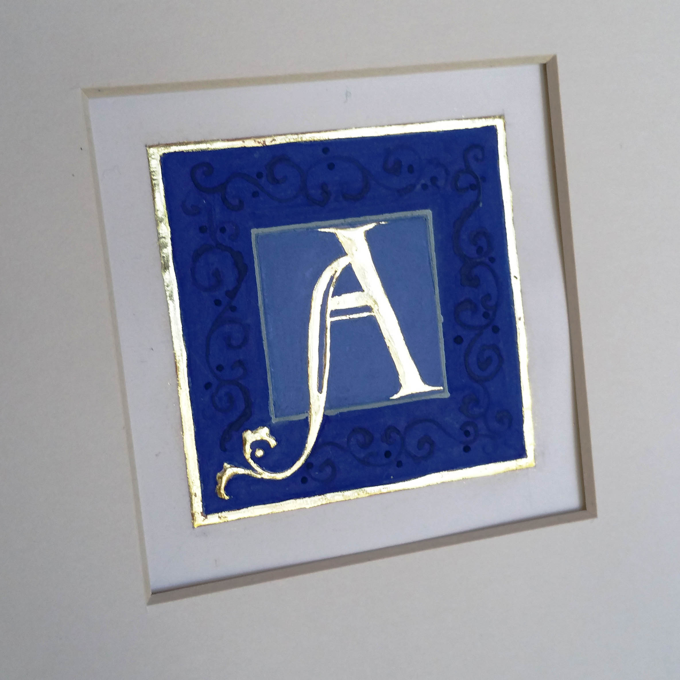 letter A gilded in 23 ct gold leaf
