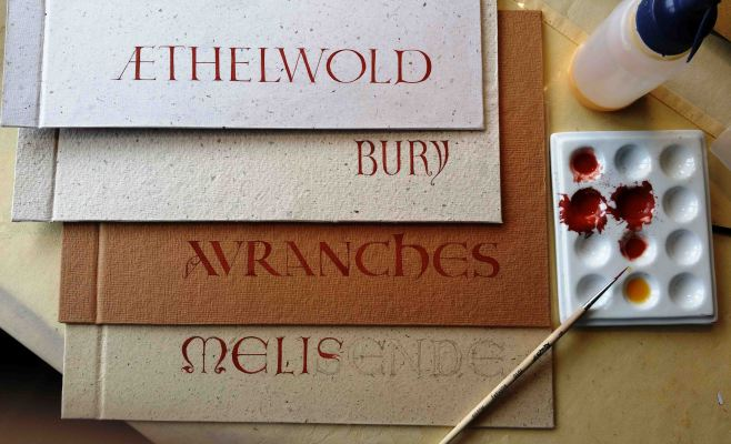 Lettering on handmade book