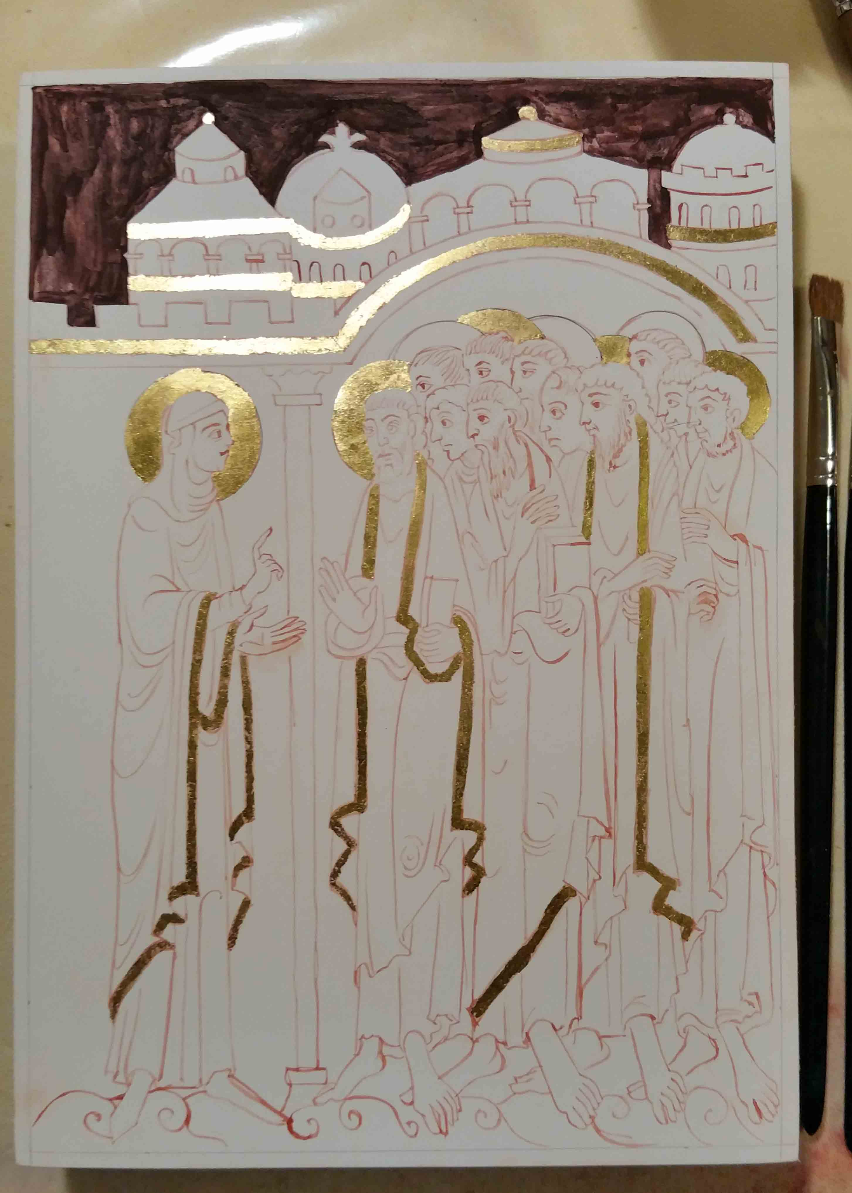 Icon board first stage of work for St Albans Psalter