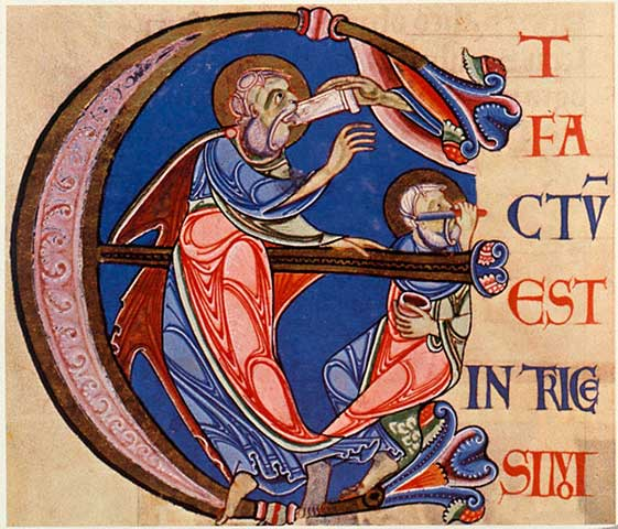 Illuminated manuscript, English, c.1146. From the Lambeth Bible, Ms.3, fol.258 v. London, Lambeth Palace Library.