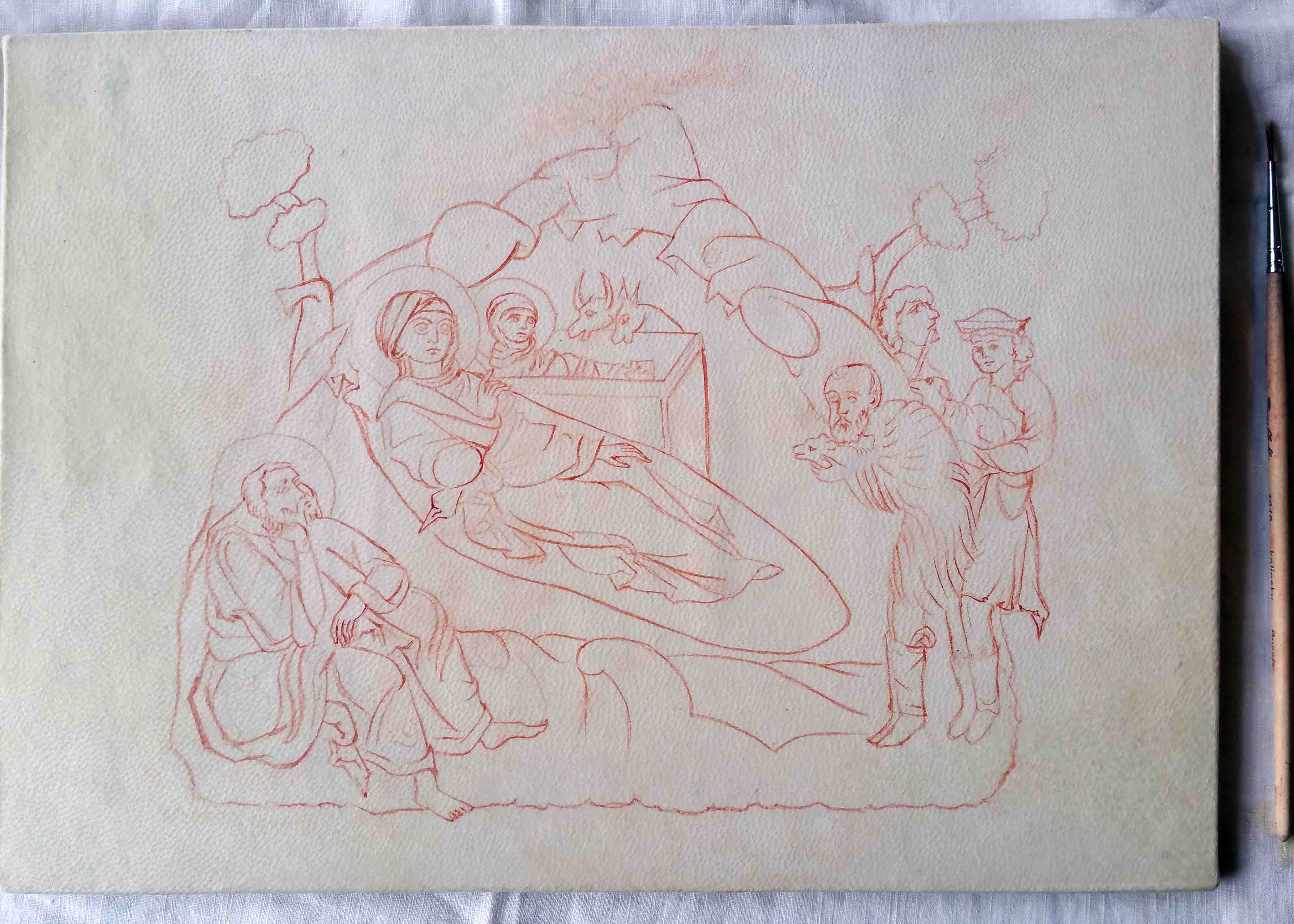 Red drawing outlines on to vellum