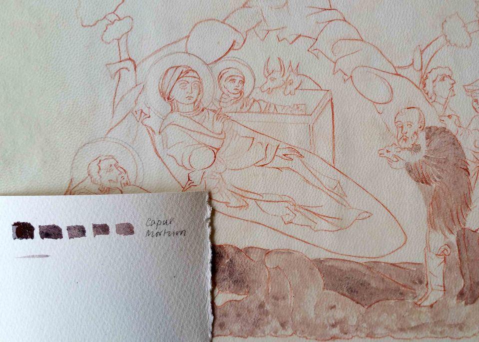 First washes of Caput Mortum on vellum