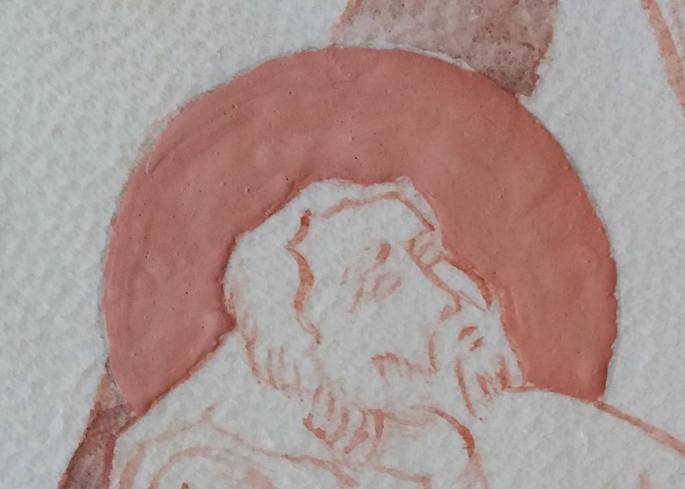 close up of the gesso halo on St Joseph