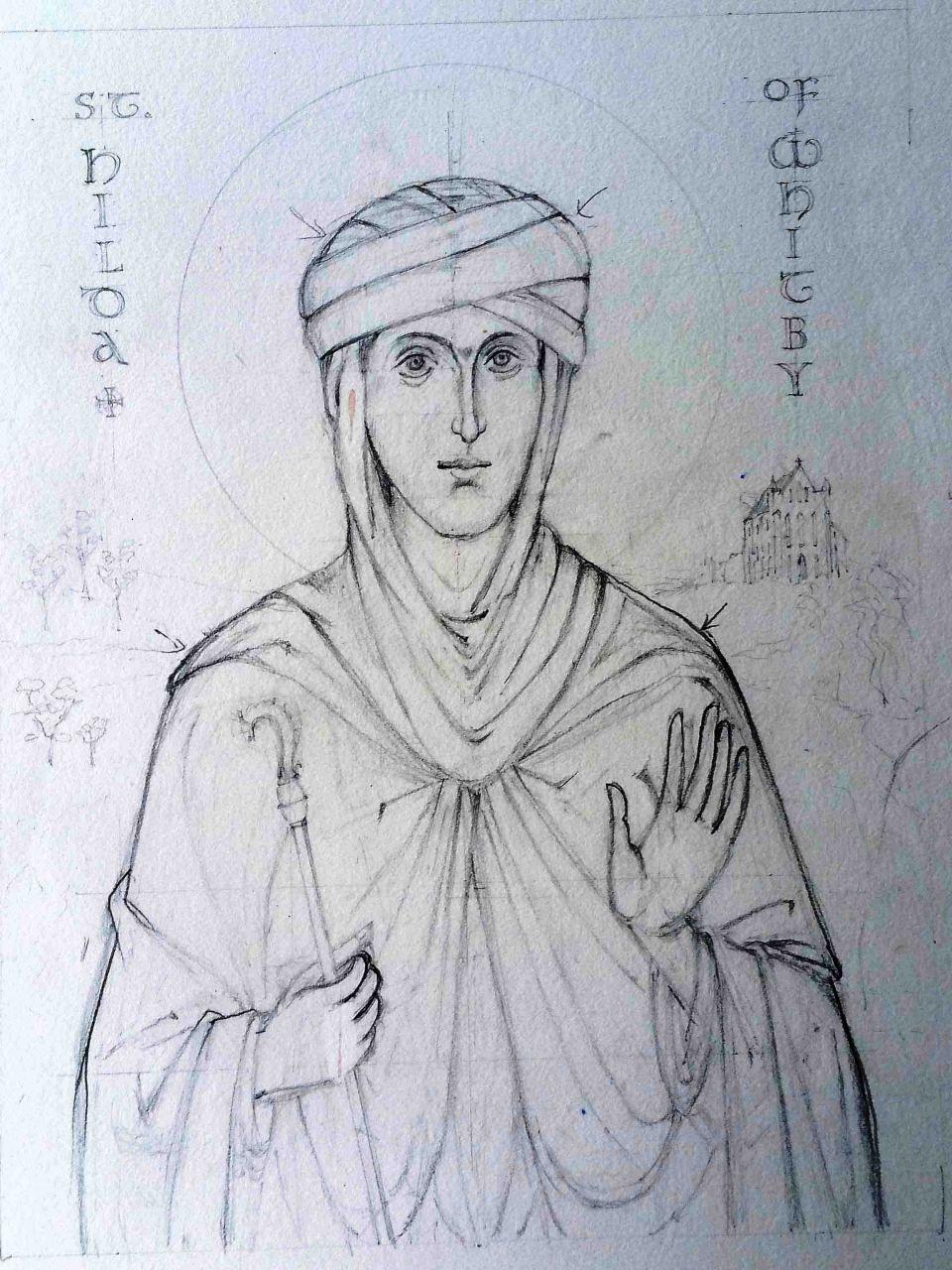1 St Hilda pencil sketch cruwys