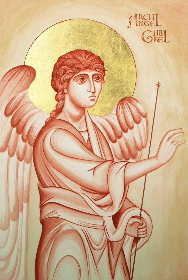 Archangel Gabriel icon study in egg tempera on watercolour paper