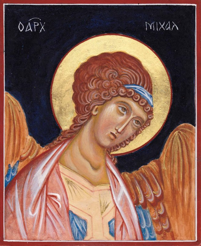 egg tempera icon of archangel Michael
