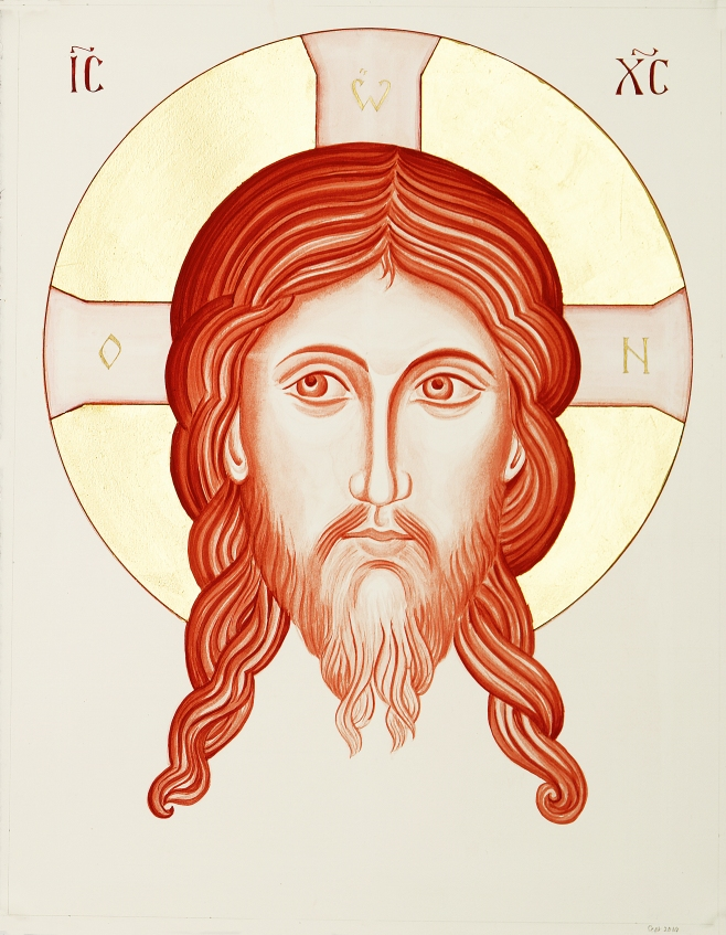 monochrome painting in red ochre of Christ