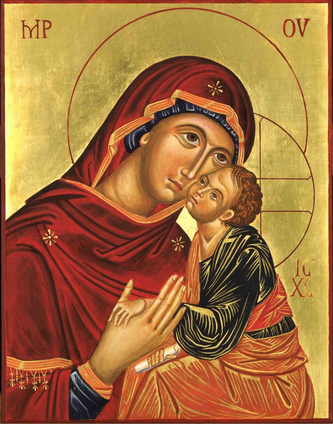 egg tempera icon on ply of Blessed Virgin and Child