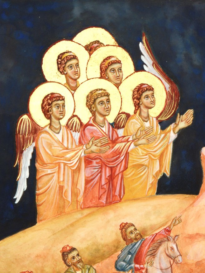 group of angels at birth of Christ