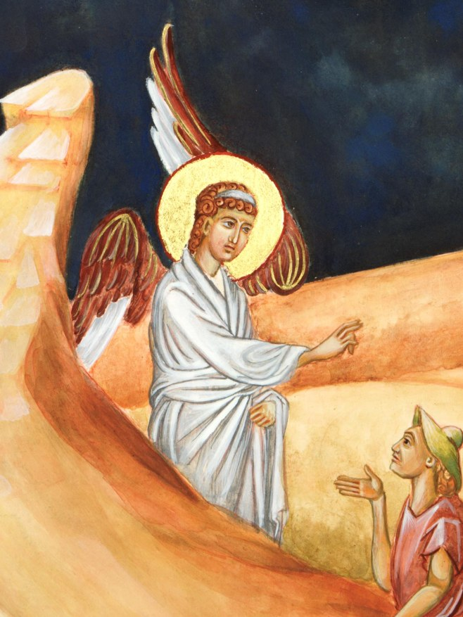 Angel painted in egg tempera on icon board