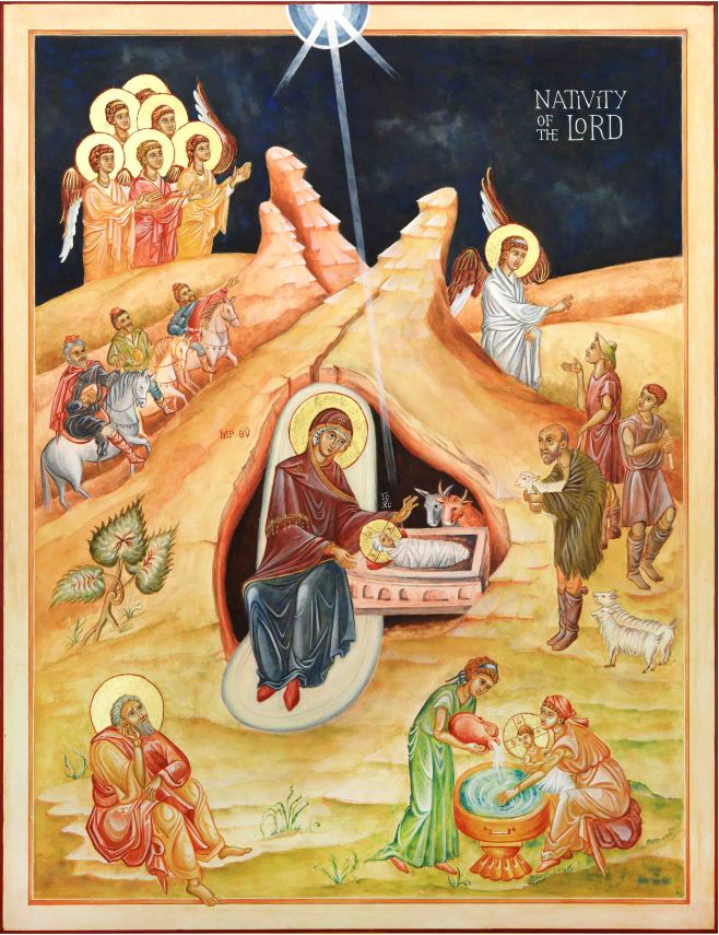 Icon painting of the Nativity of the Lord