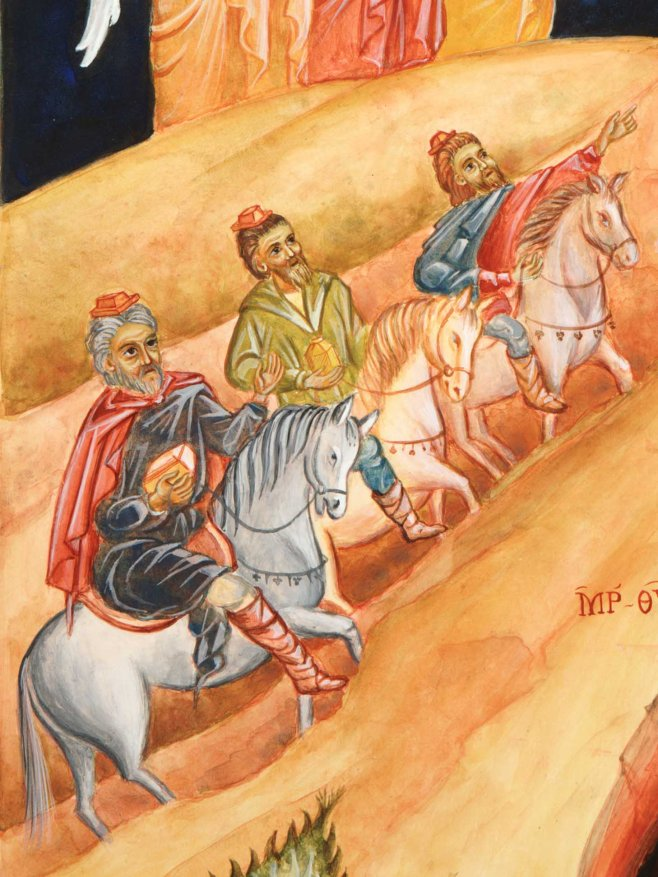 three wise men, the magi, travel to the birth of Christ