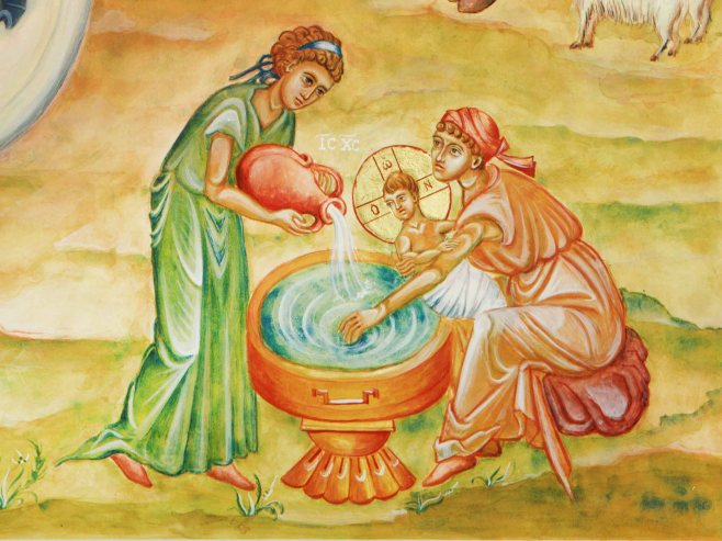 Salome and her assistant midwife bathes the infant Jesus