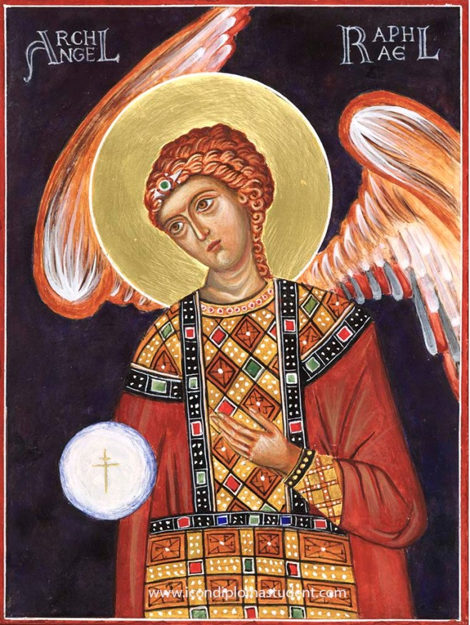 Icon of Archangel Raphael painted on birch ply