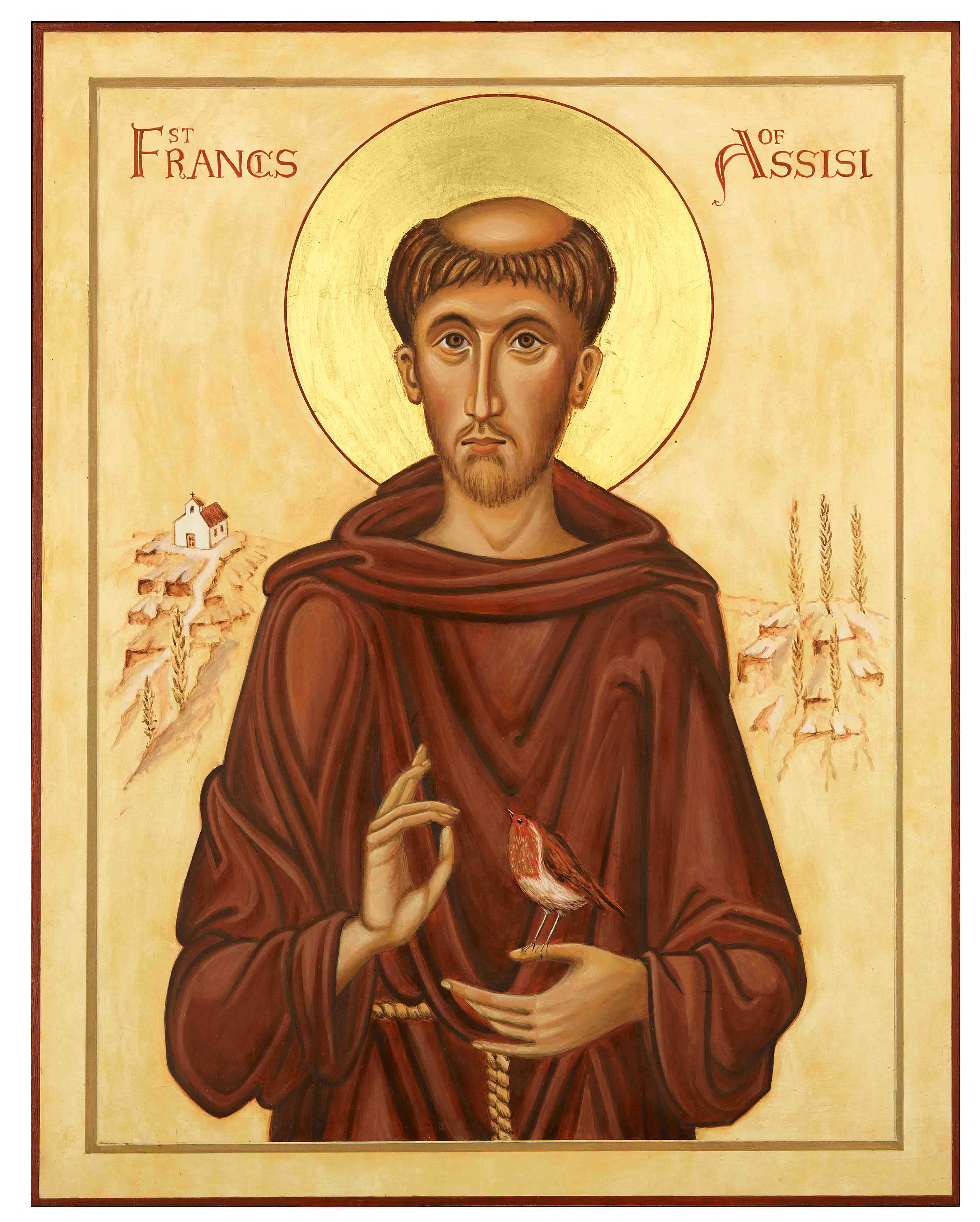 Icon painting in egg tempera of St Francis of Assisi