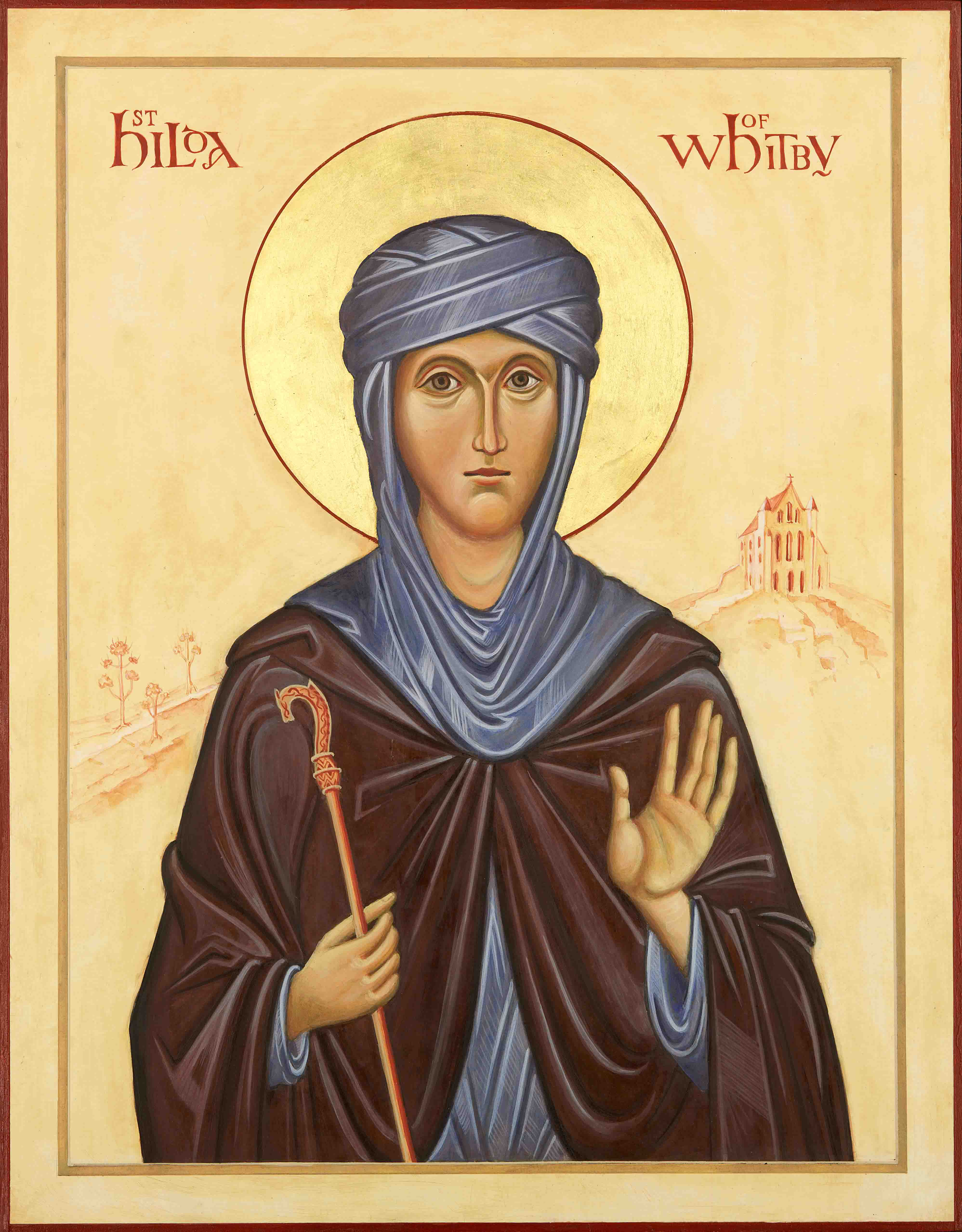 iconpainting of St Hilda of Whitby by Ronnie Cruwys