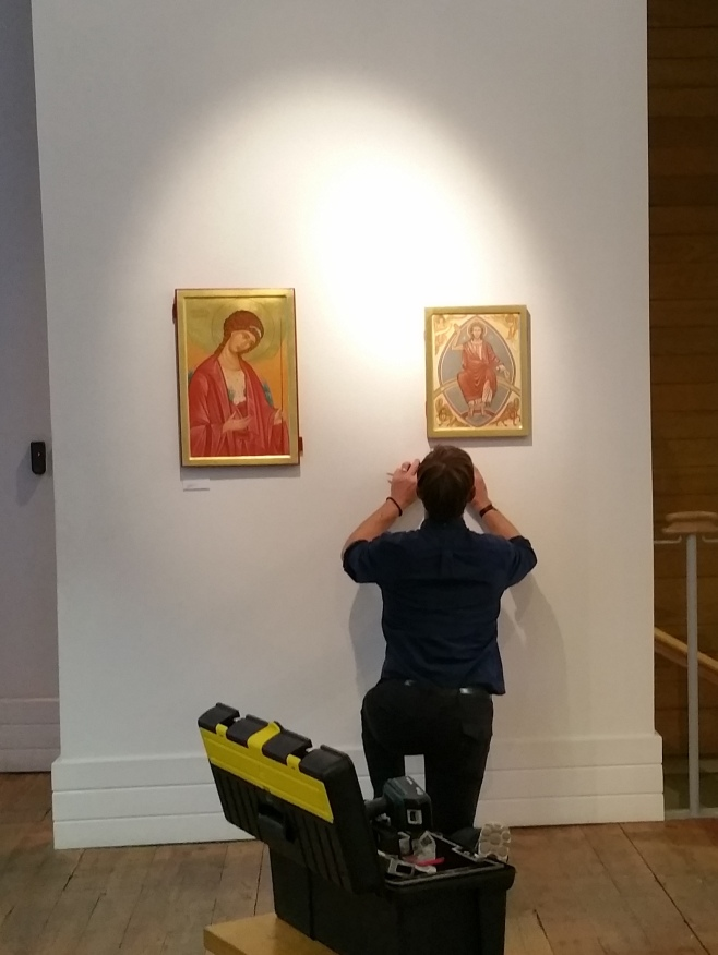 Aidan putting icons up at PSTA Shoreditch