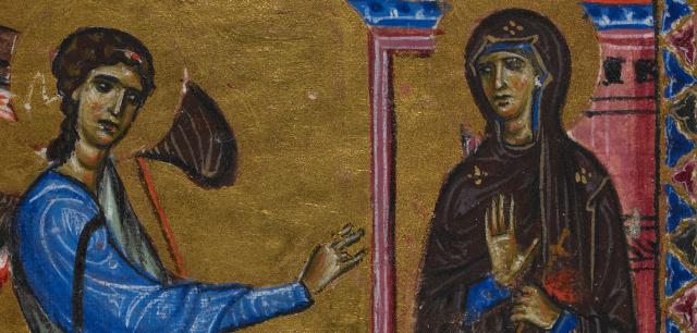 Annunciation Melisende Psalter British Library crop.png