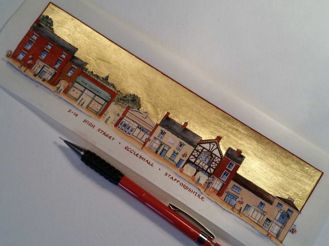 Eccleshall High street on vellum unframed