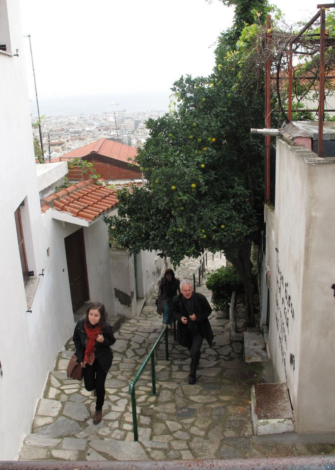 Janina, Keith and Susan climbing the streets aof Thessaloniki