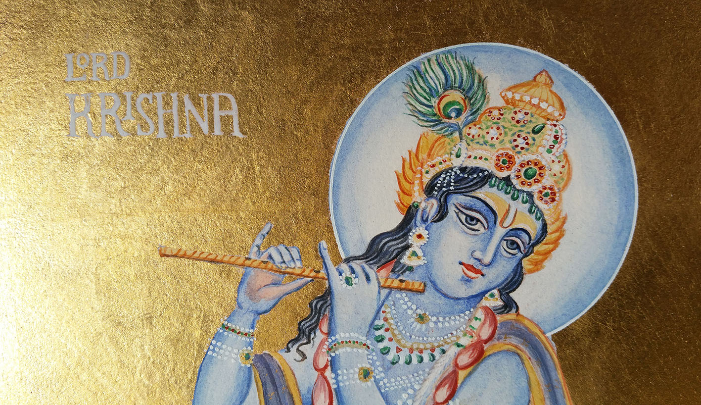 paionting of lord krishna on watercolour paper