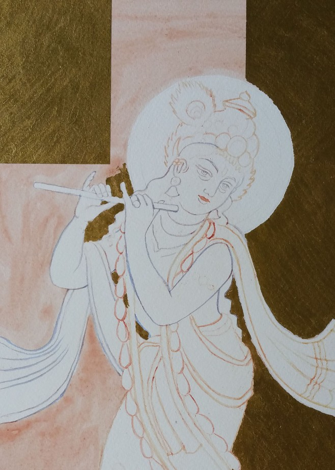 gold leaf on lord krishna drawing