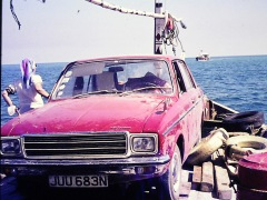 David's car on a dhow with Mum to the left