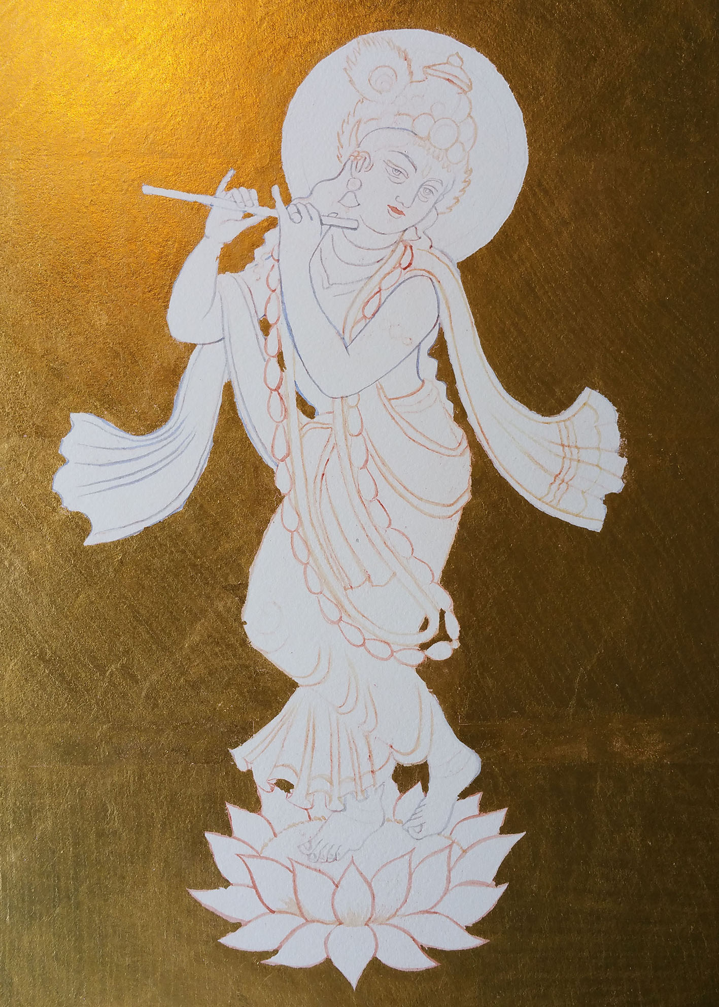 lord krishna on heavenly gold background