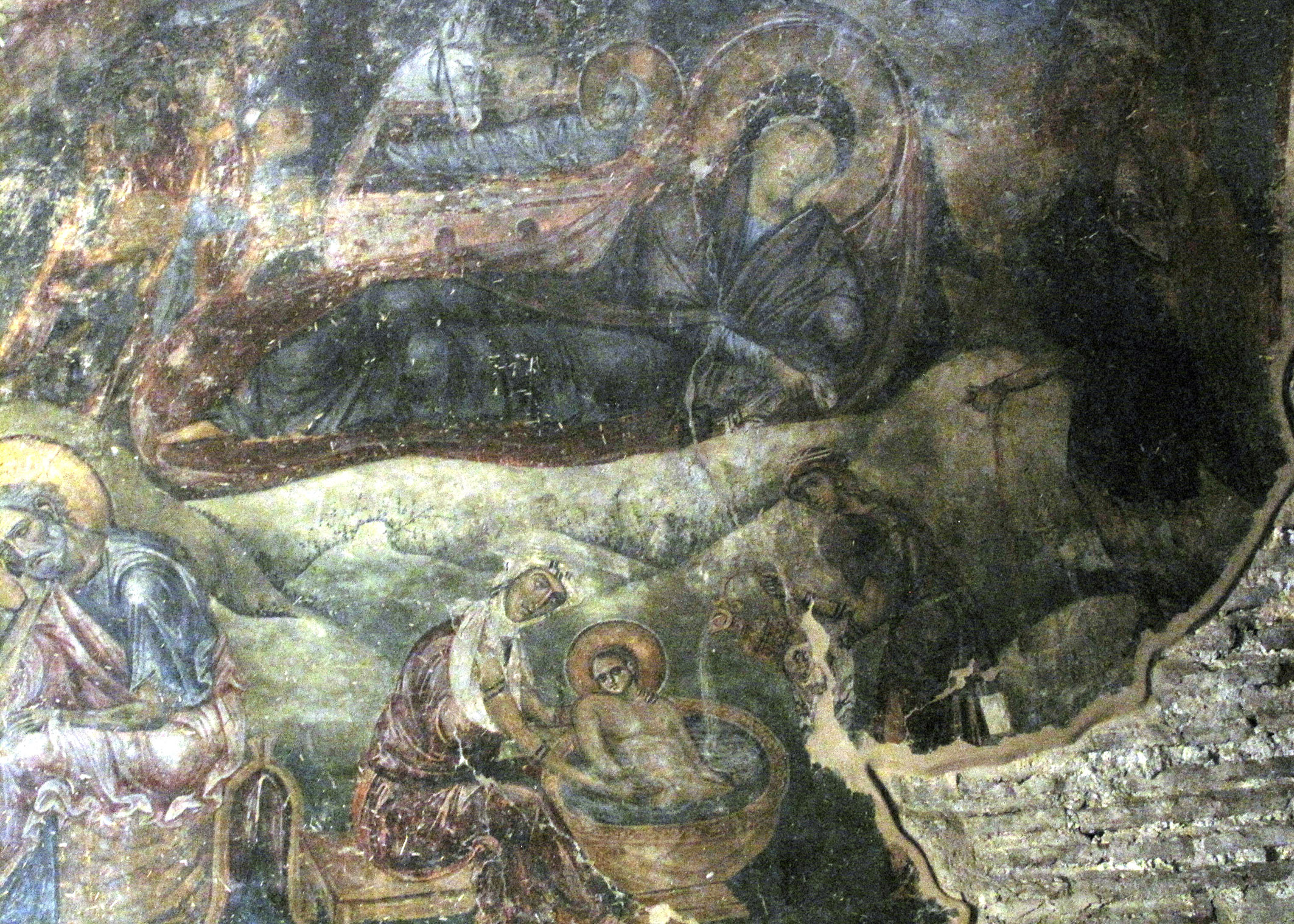 Detail of a fresco of the nativity