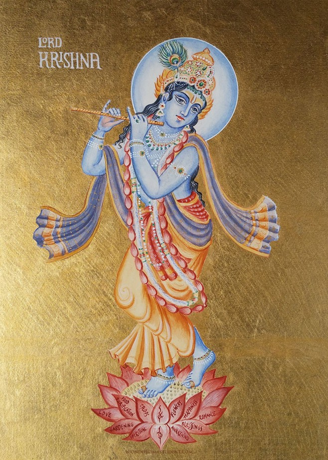Lord Krishna painted using the icon method