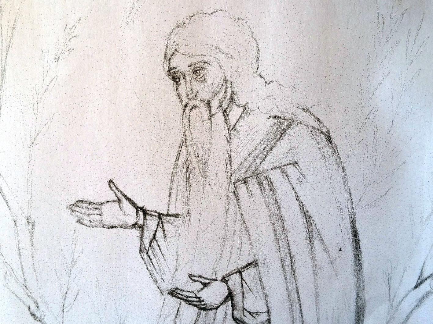 pencil sketch of st David